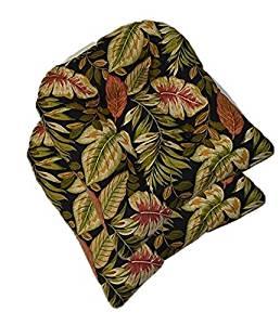 Set of 2 - Universal Tufted U-shape Cushions for Wicker Chair Seat - Twilight Black, Green, Burgundy, Tan Tropical Palm Leaf