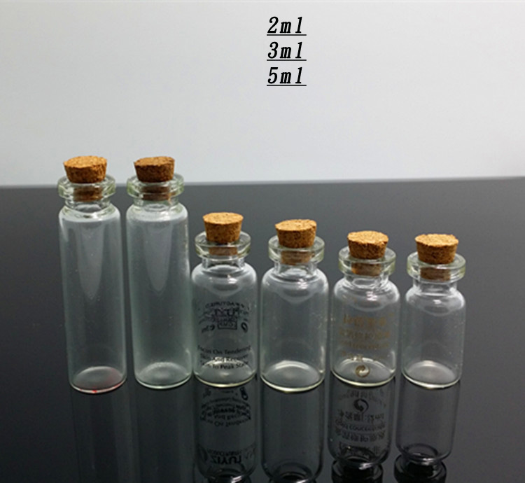 2ML 3ML 5ML 10ML small vial glass bottle with cork lid