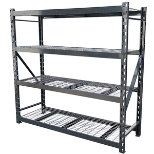 Black Heavy Duty Steel Welded Storage Rack With 4 Shelves And 1200 lbs/layer,Treadplate Welded Rack