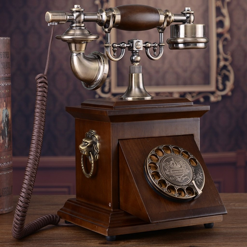 Hyun times Old - Fashioned Solid Wood Rotating Dial Telephone Antique Retro Dial - Up Telephone Antique Home