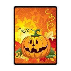 SOFTKIITY Custom Happy Halloween Pumpkin Throws Blankets Size 58inch x 80inch (Large)