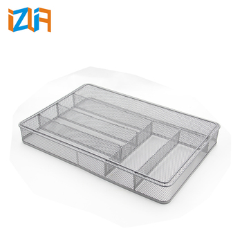 sliver 6 upright Iron metal mesh kitchen cutlery tray