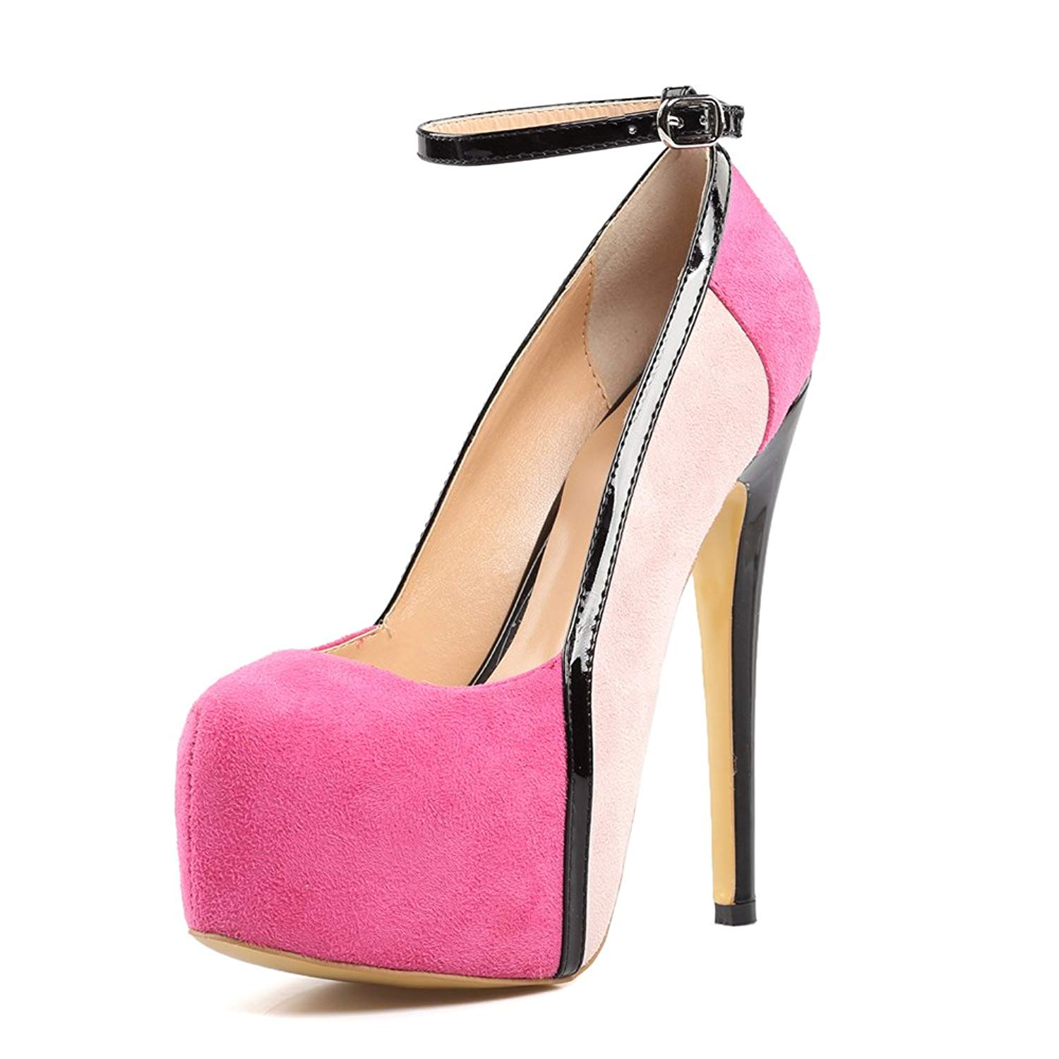 5a67396e4021 Get Quotations · Amy Q Platform Pumps Women s Round Toe Ankle Strap Sky High  Heels Pink Extremely Stilettos Cute