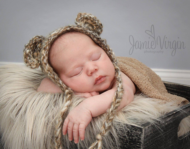 Wild Bear Newborn Baby Hat Photography Prop, Baby Props, Photo Props, Handmade Hat, Baby Hat, Yarn, Mouse, Animal, Newborn Props, Props