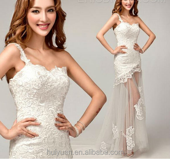 Chic Lace One Shoulder Sexy Victorian Style Wedding Dresses - Buy ...