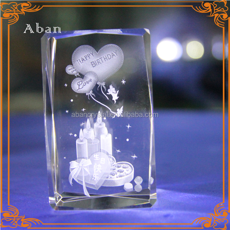 novelty birthday gifts 3D laser engraved crystal led cube