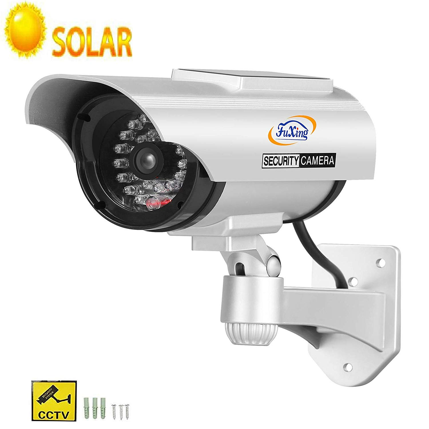 FX Solar Fake Dummy CCTV Security Surveillance Camera with Solar Pannel for Blinking Red LED Light with CCTV Warning Signs Sticker
