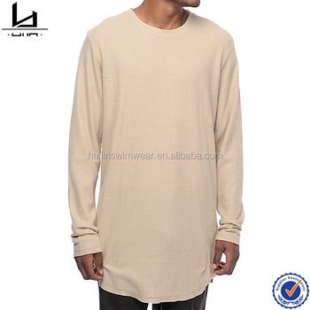 0f2c582aa54 Drop tail split rounded hem blank elongated longline t shirt long sleeve  tall tee