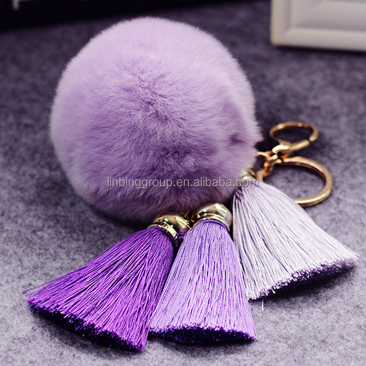 Most Popular Lovely Colourful Cute Fur Ball Keyc