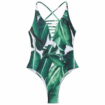 Sexy Backless One Piece Swimsuit Women Bathing Suits Green Leaf Printed