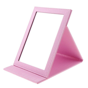 Wholesale Portable Folding Travel Makeup Desktop Mirror With Leather Stand