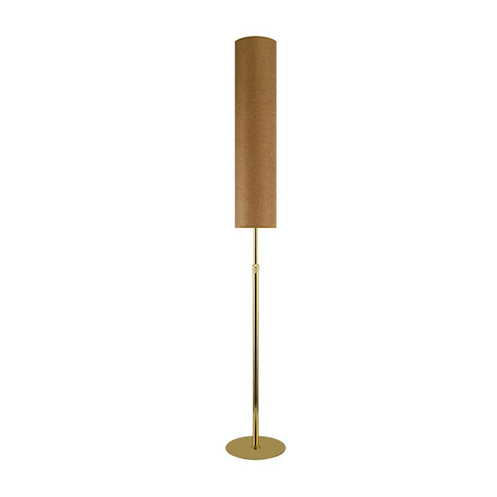 Retractable LED Floor Lamp, Living Room Vertical Eye Protection Desk Lamp, Chinese Bedroom Headboard Reading Light, Three-color Light Source, H130-185cm2315cm (E271) (Color : Hemp gold body)