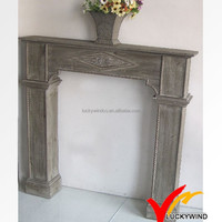 Freach style shabby chic wood fireplace surround