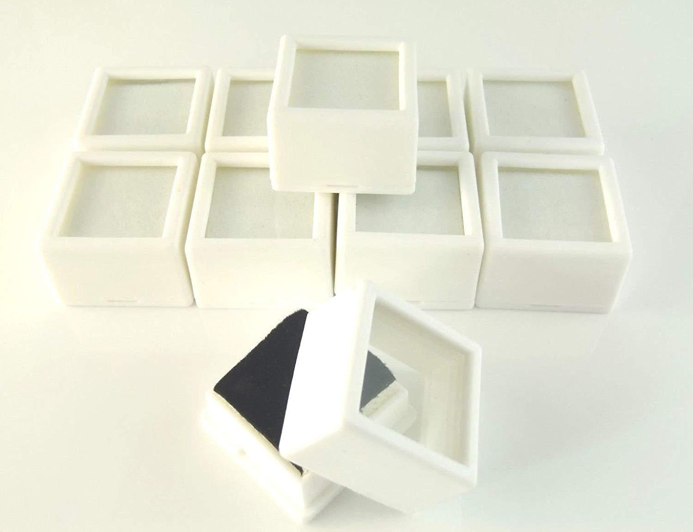 "Generic O-8-O-3424-O play be Gem Box/jar orage/d Glass Top Box/ja 10 PC 1-1/16x3/4"" lass To storage/display beads/coin WHITE S WHITE SQUARE HX-US5-16Apr11-185"