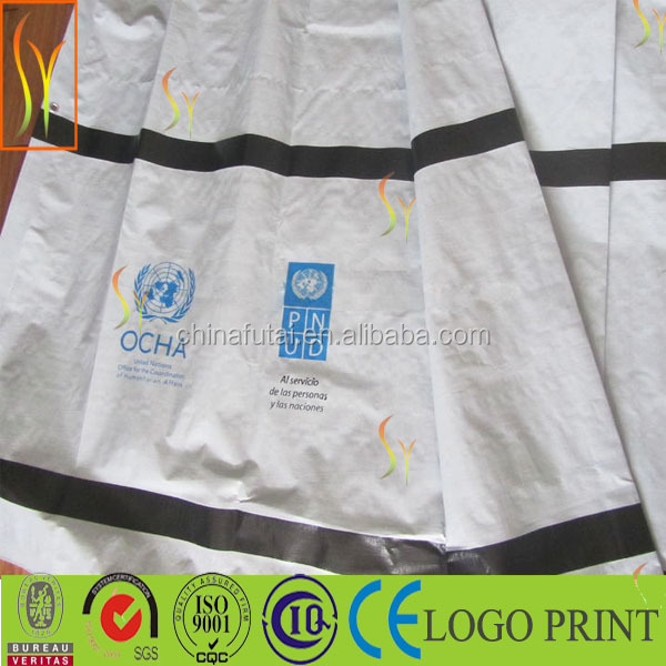 logo printed poly tarps pe tarpaulin in different dimensions/reinforced coated logo pe printed tarps