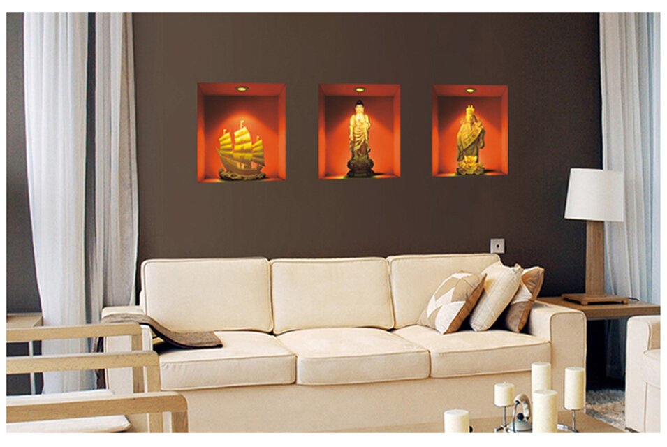 three pieces 3d wall art black backing film vinyl wall decal
