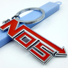 silver plating black and red color NOS car stock keychain