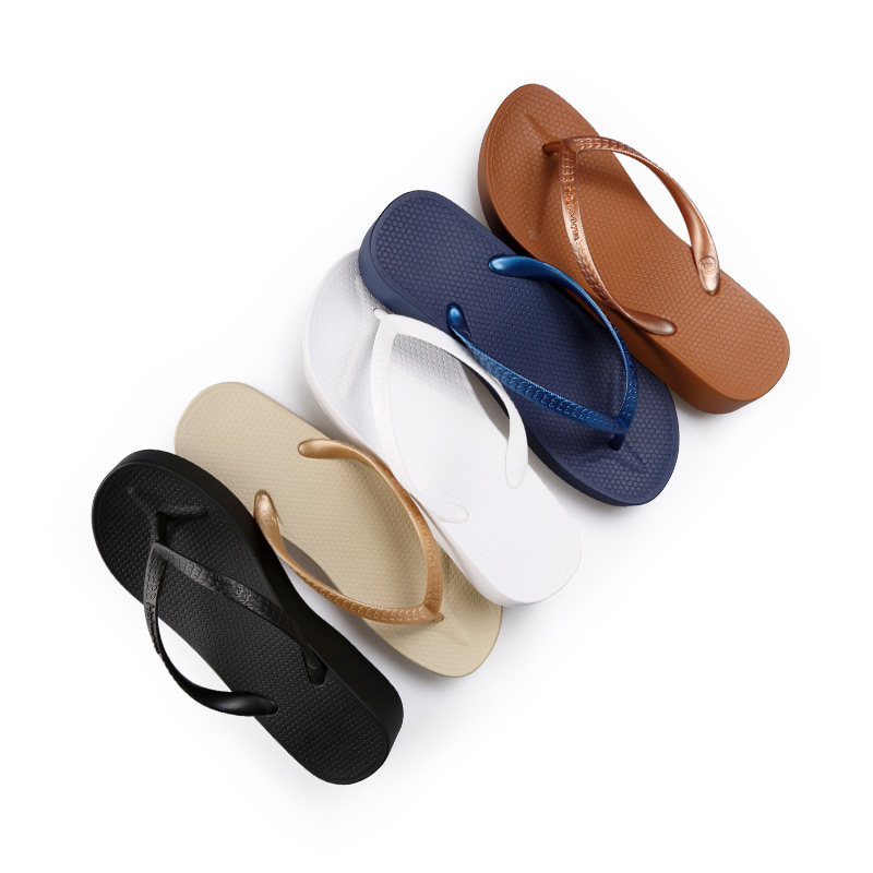 de98a586a27 Hotmarzz Women Wedges flip flops with non-slip high heel outsole  environmental PVC beach slippers