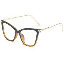 YOOSKE модные очки кошачий глаз оправа для женщин Близорукость оптическая оправа металлические прозрачные линзы черные розовые очки прозрачн...(Китай)