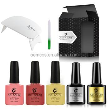 Nail Art Supplies Wholesale Nail Gel Polish Kit With Led Light Lamp