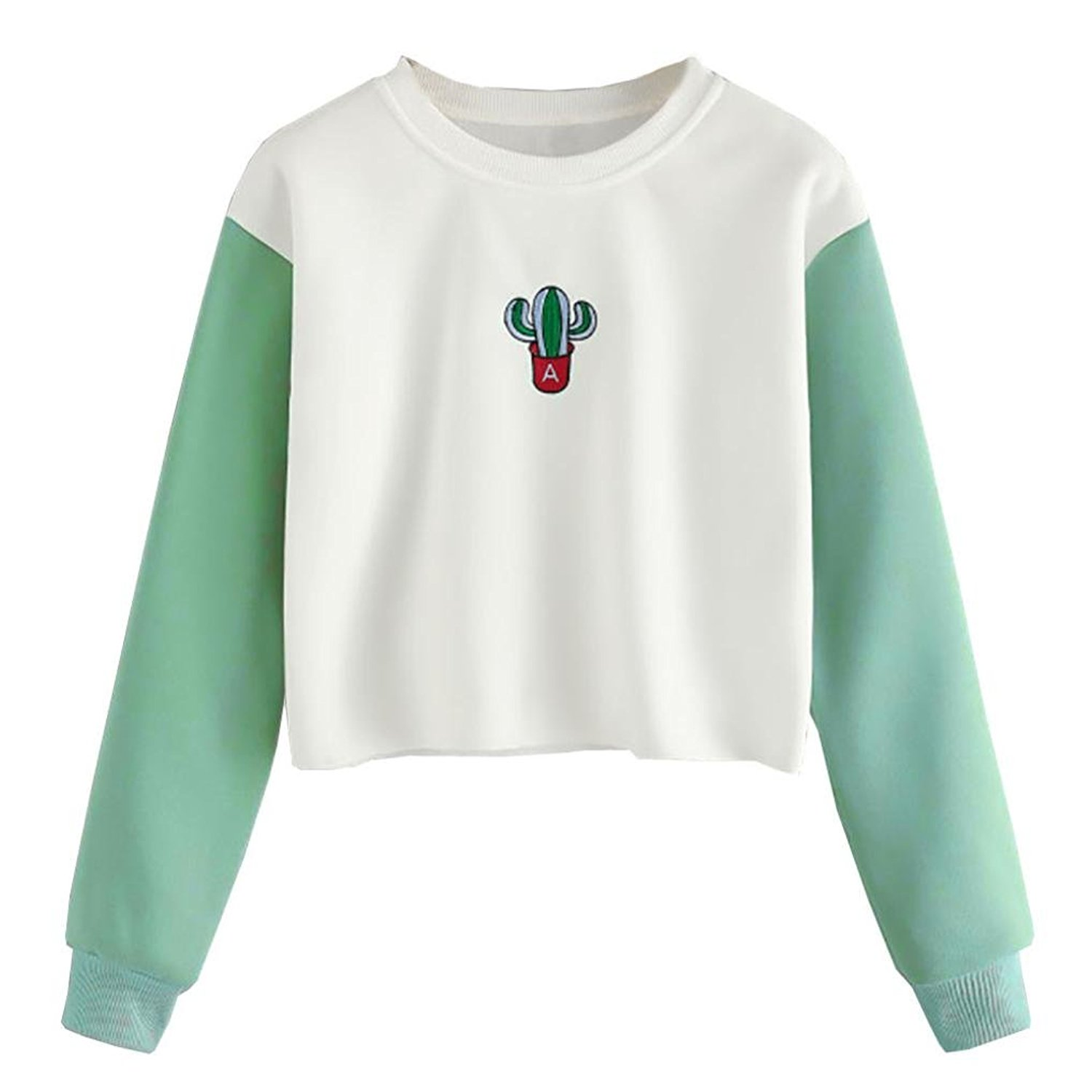 Junshion Womens Sweatshirt Botany Printed Long Sleeve Patchwork Suede Pullover Tops