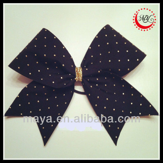 black with metallic gold puff dots cheer bow for girls hair gold glitter center