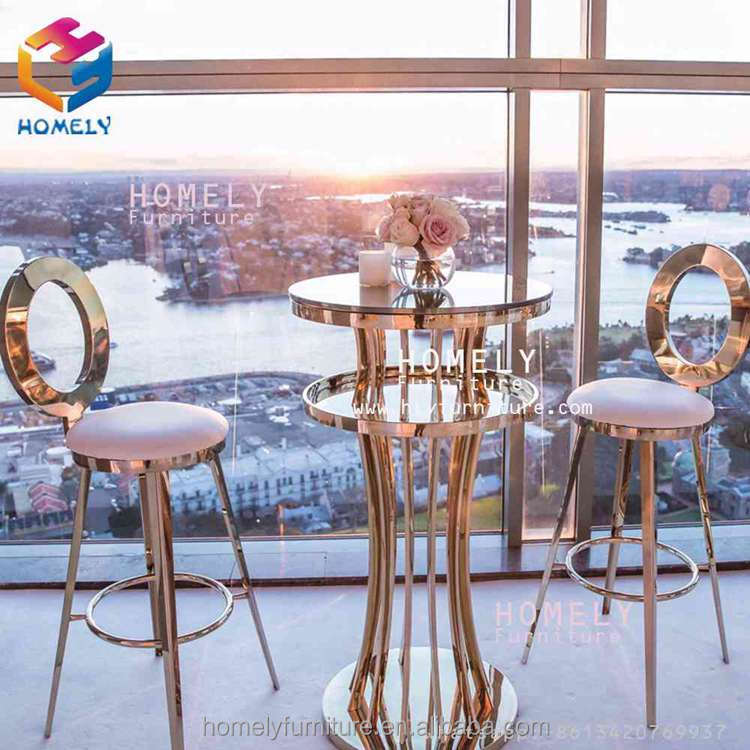 vintage new design bar party wedding hotel hall banqurt rose gold silver white stainless steel bar stool high chair