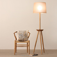 Modern Nordic style wooden led tripod floor lamp for bedroom and living room