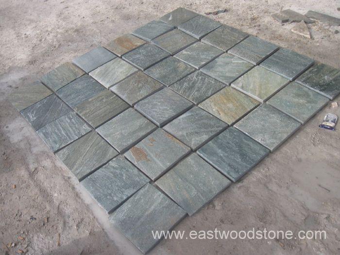 Verde pizarra jard n suelo piso piedras para piso piso - Piso de pizarra ...