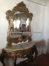 Gold antique console with mirror