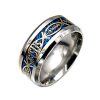 Stainless Steel Jesus Cross Fish Religious Rings For Men Jewelry