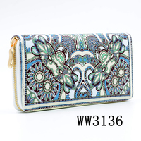 Free Shipping Cost Yiwu Factory Boho Style Women Cheap Fine Leather Wallet