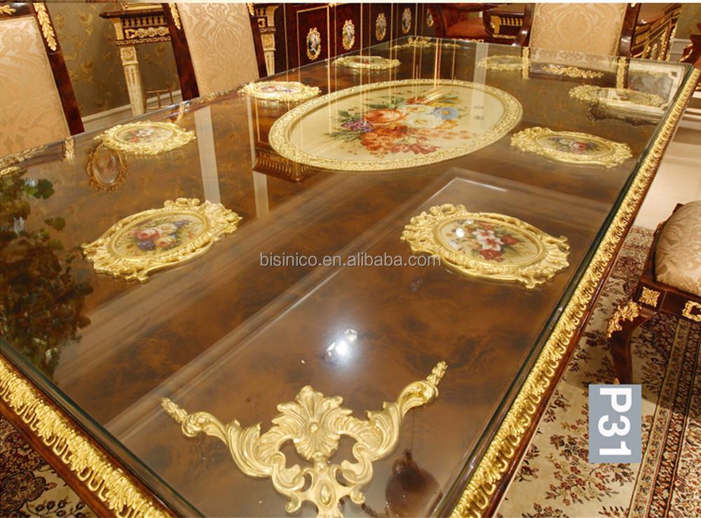 Luxe franse barok stijl eetkamer sets antiek bruin rechthoekig