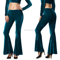 Women Winter Pants Long Gold velvet Casual Flare Harem High Waist Wide Leg Palazzo Pants Trousers