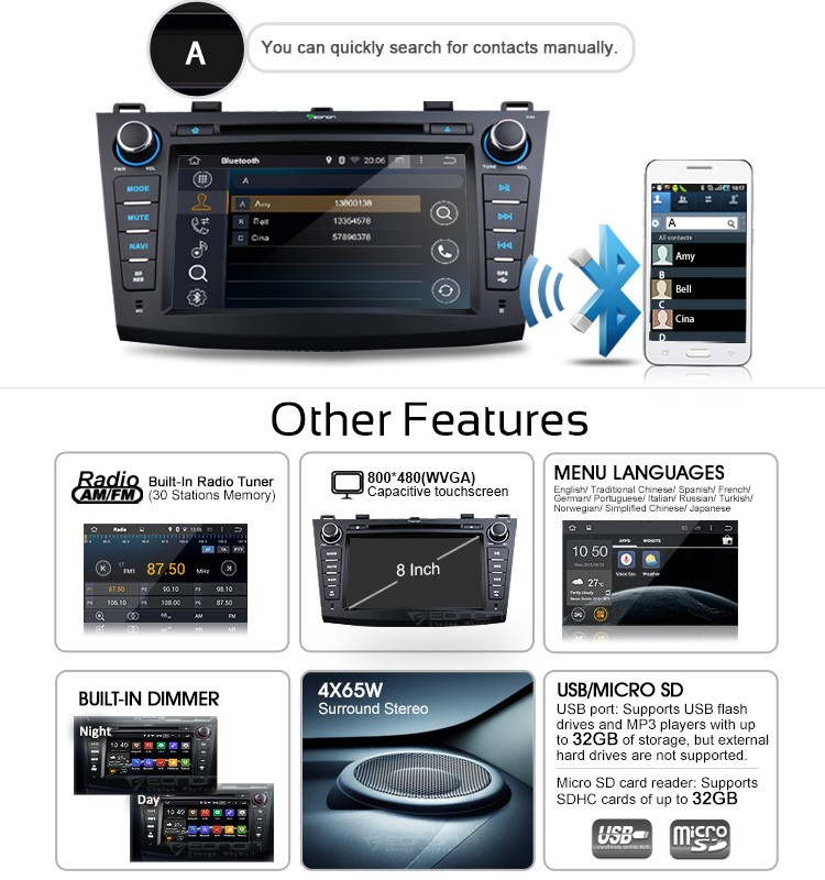 Eonon Ga5163f For Mazda 3 2010- 2013 Android 4 4 4 Quad-core 8 Inch  Multimedia Car Dvd Gps With Mutual Control Easyconnection - Buy Android  4 4 4