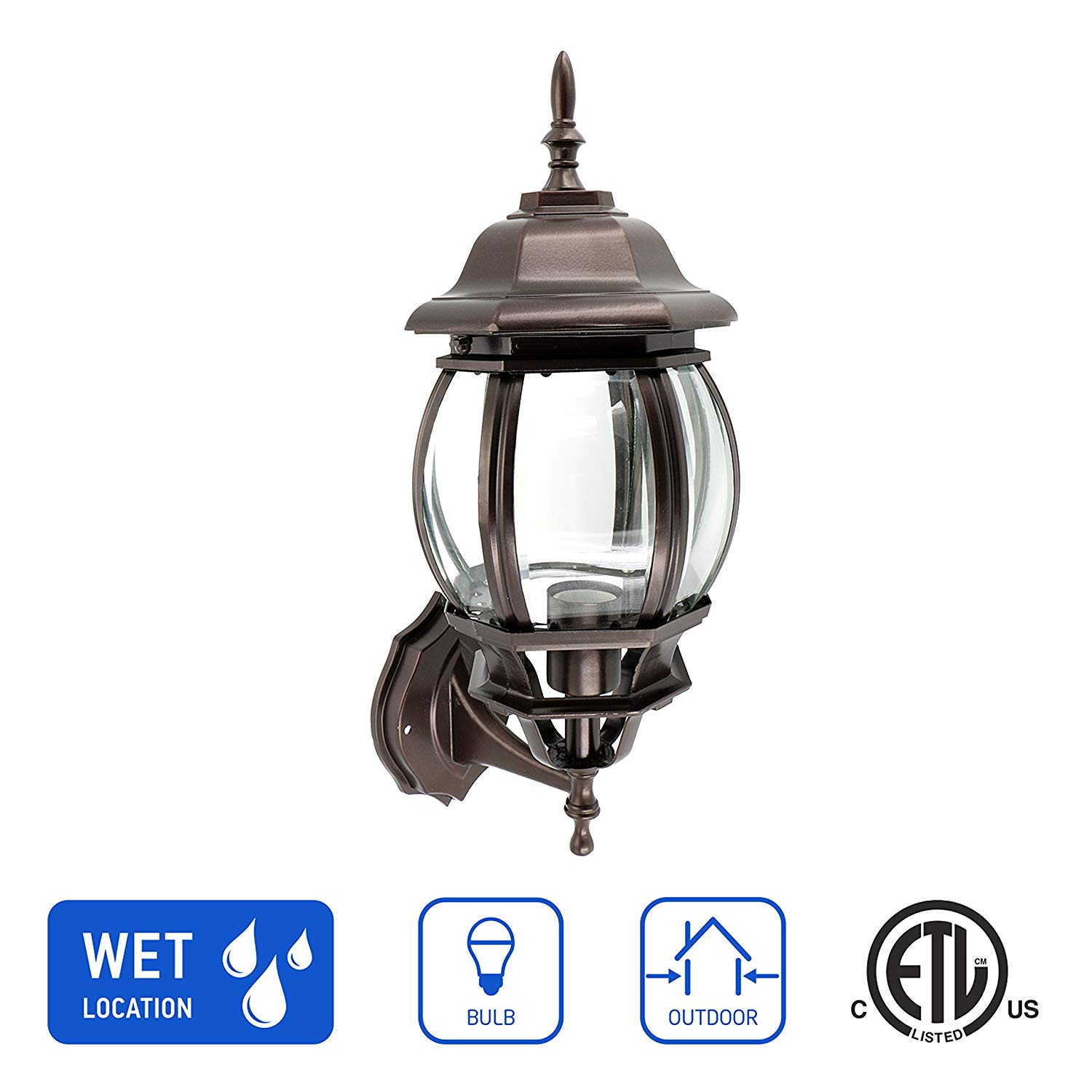 IN HOME 1-Light Outdoor Exterior Wall Up Lantern, Traditional Porch Patio Lighting Fixture L08 with One E26 Base, Water-Proof, Bronze Cast Aluminum Housing, Clear Glass Panels, ETL Listed