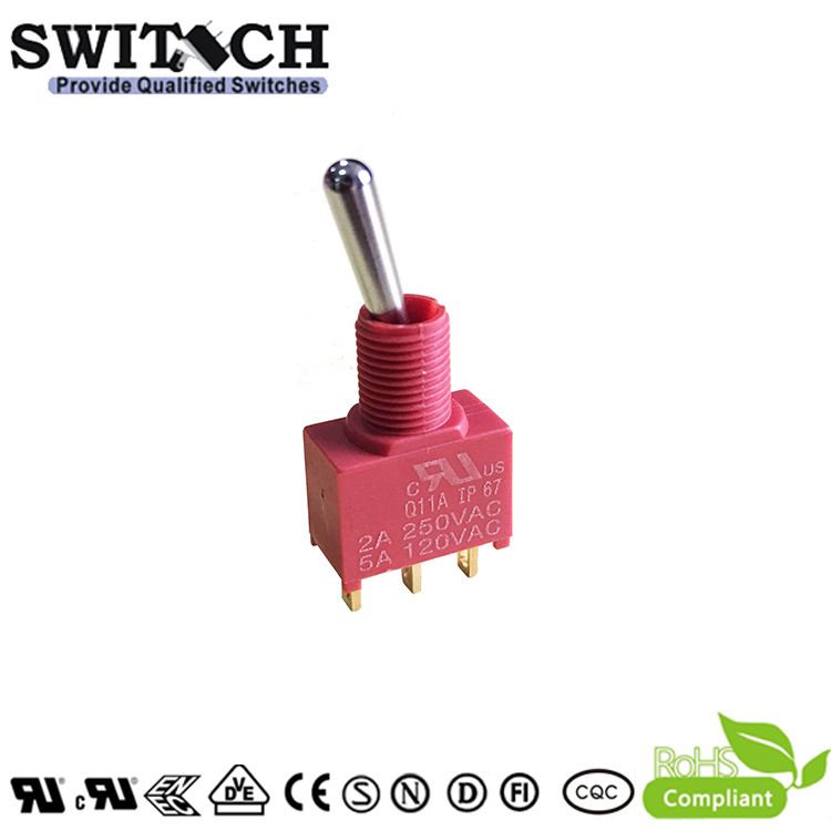 5 X Momentary 20A 125V DPDT 6P On//Off//On Toggle Switch Waterproof Cap WYS
