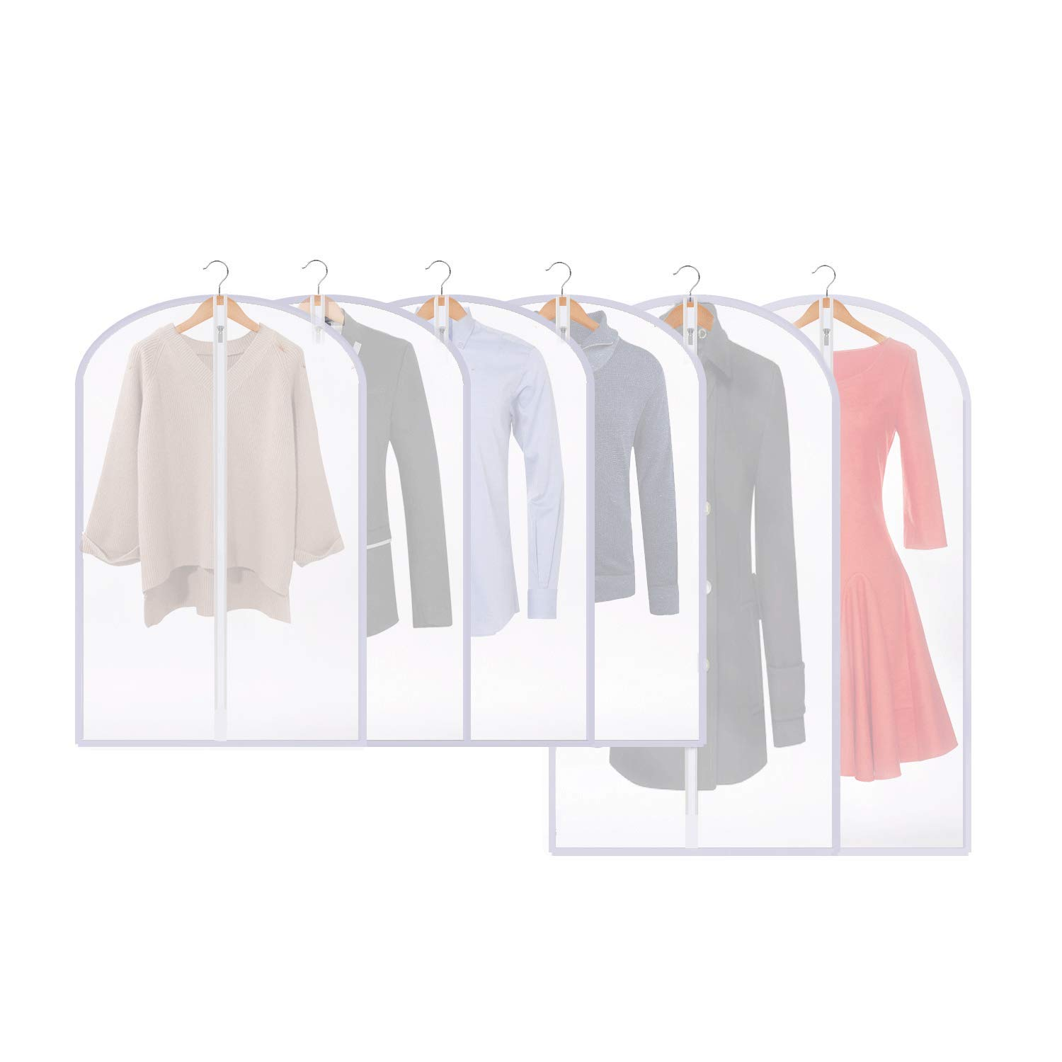 "Thipoten Garment Bags,Set of 6 Moth-Proof Dust Cover for Closet Storage and Travel (Translucent, 24"" x 40""/47"")"