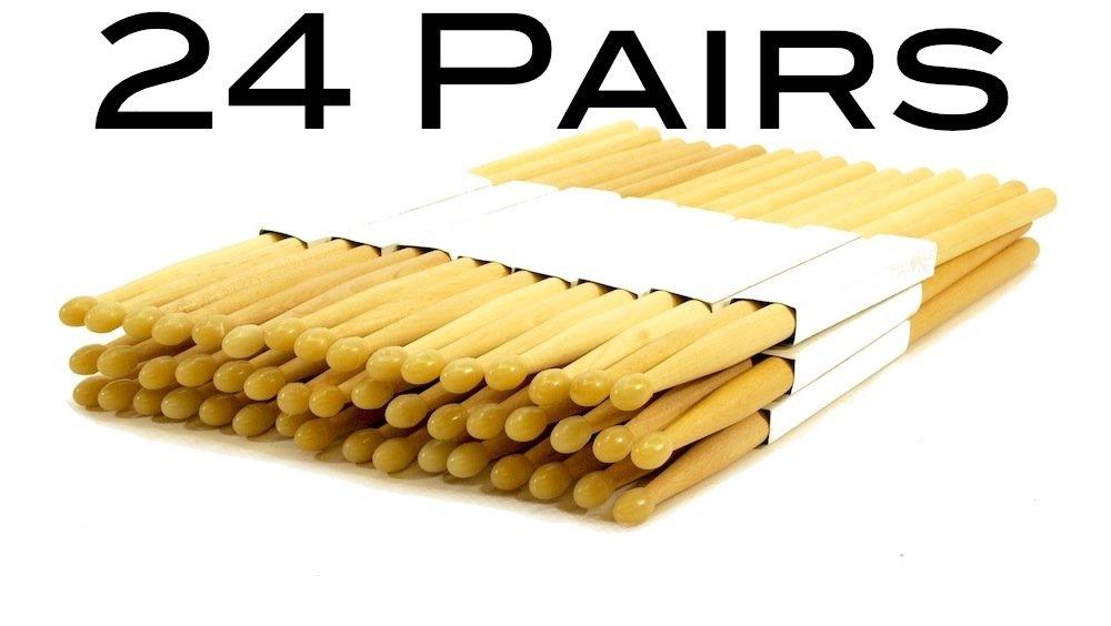 24 PAIRS 7A NYLON TIP NATURAL MAPLE WOOD DRUMSTICKS 48 DRUM STICKS 7AN