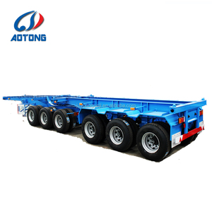 Madagascar 3 axles/Tandem axle superlink container semi trailer/40ft chassis skeletal interlink trailer truck price