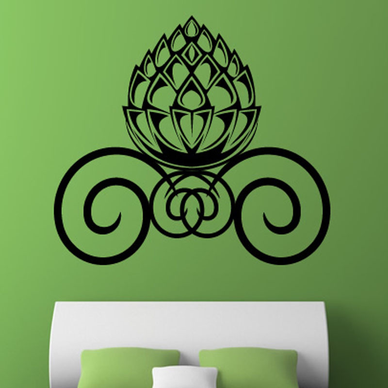 Nature Style Home Decor DIY Waterproof Removable Vinyl Acorn Swirl Wall Sticker For Bedroom