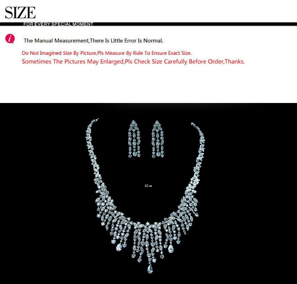 LUOTEEMI Platinum Plated Fashion Luxury Cubic Zirconia Diamond Tassel Choker Necklace Earrings Fine Jewelry Sets