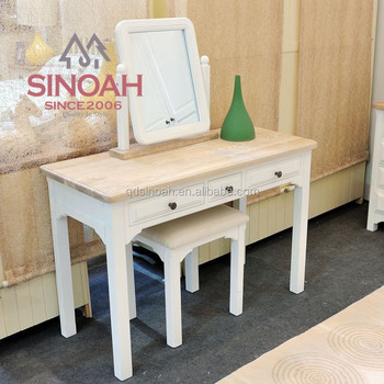 Solid Wood Stool Mirror Dresser French Style Dressing Table