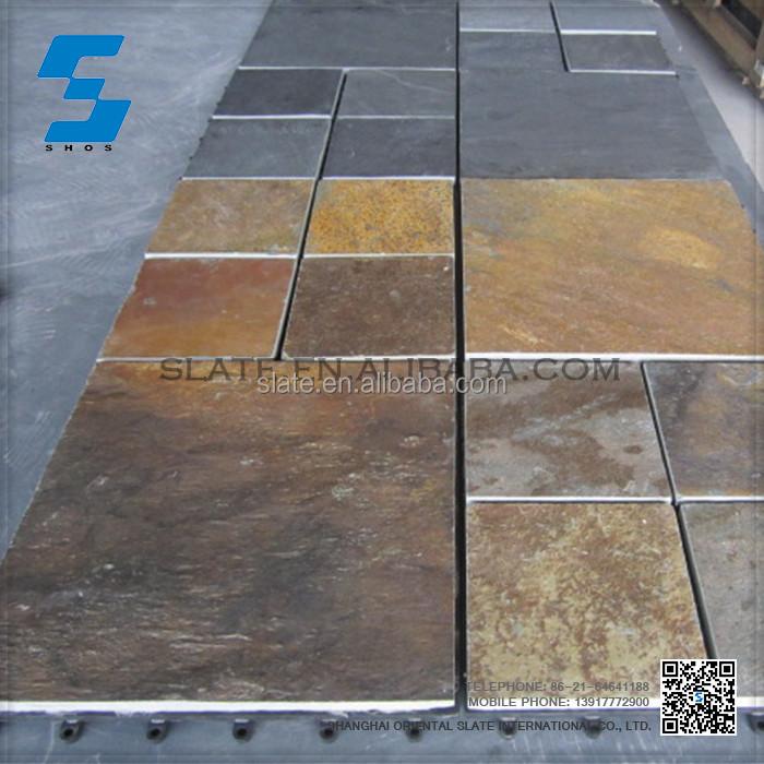 Natural piedra piso patio pavimento de pizarra azulejo for Azulejos para patios rusticos