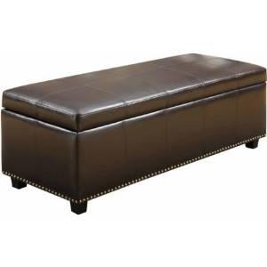 "Bench / Benches with Storage, Huntsville Large Rectangular Storage Ottoman Bench, Coffee Brown BMUF-017 (48"" L x 16.41''' W x 17.72'' H)"