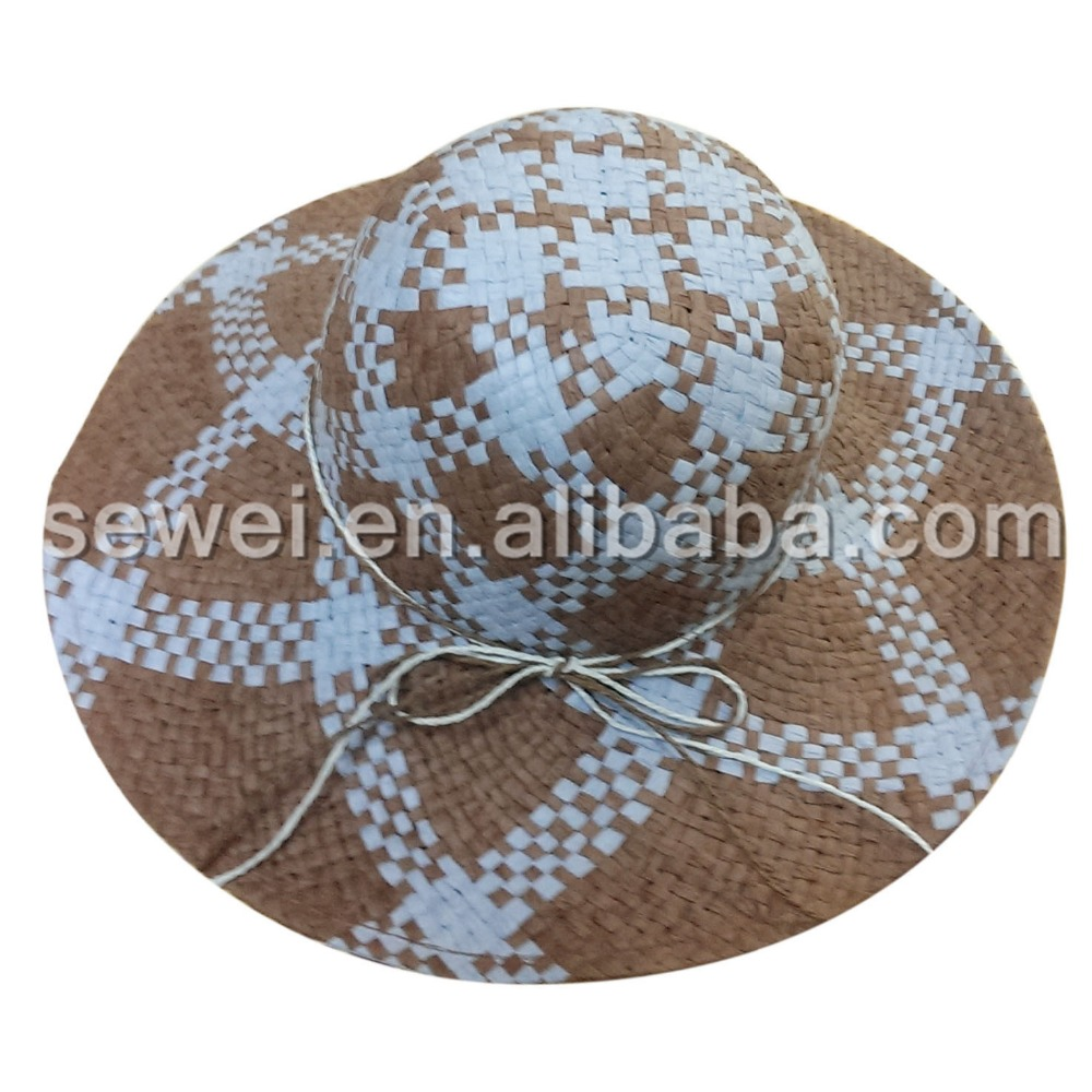 S00372 Fashion Ladies Homburg Hat Lala grass Bow-knot Straw hats Cheap Price