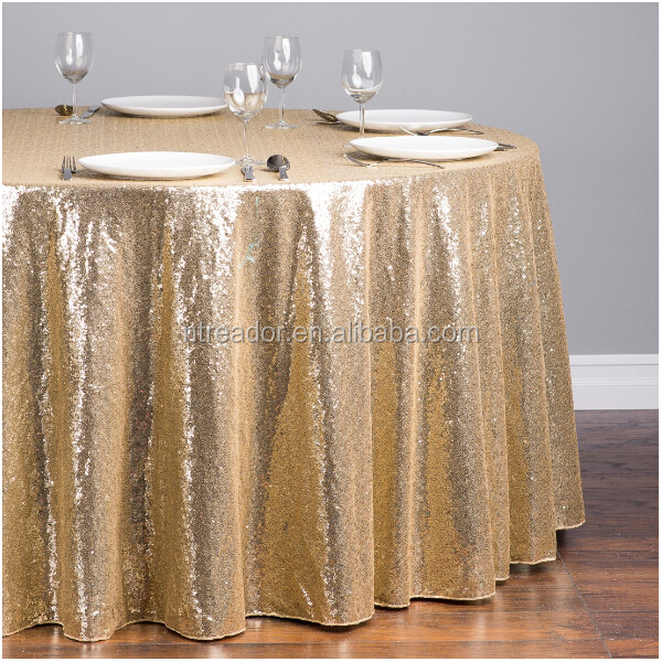 Round Sequin Embroidery Organza Table Cloth Sequins Runner Overlays For Tablecloths Overlay Product On