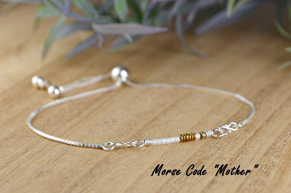 """Custom Colors- Morse Code """"Mother"""" Adjustable Sterling Silver Interchangeable Charm/Link Bolo Bracelet- Charm, Bracelet Chain, or Both Bracelet and Charm"""