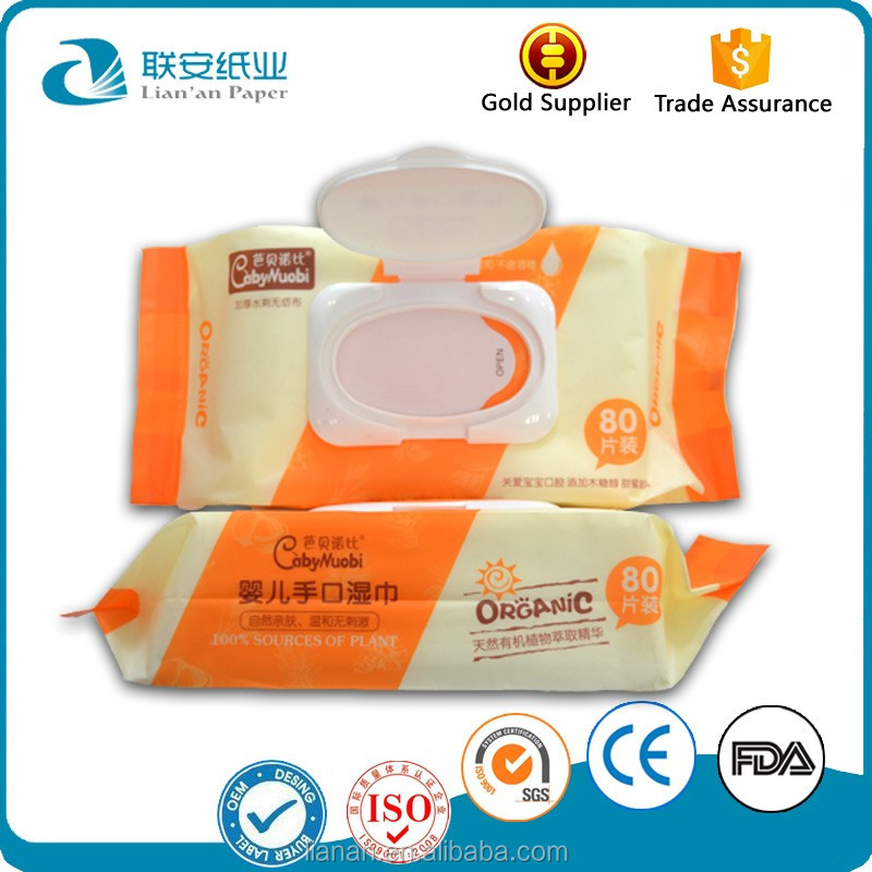 Non alcohol 80pcs Wrapped Packing Wet Wipes Tissue