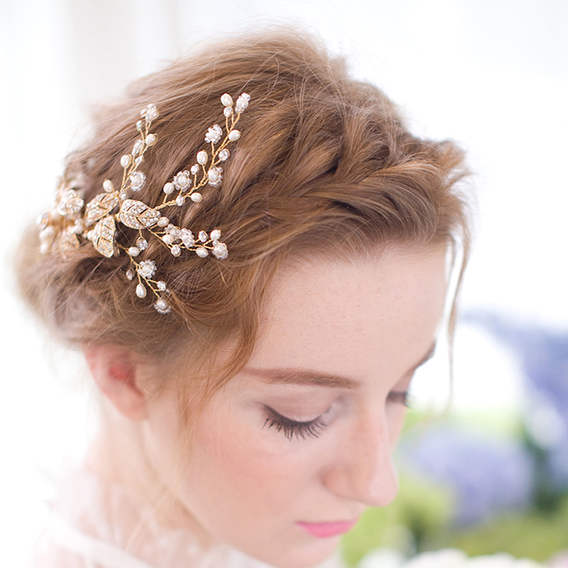 Gothic Style Flower Leaf Hair Comb Golden Blossom and Crystal Wedding Hair Comb Bridal Headpieces Accessories Hair Style